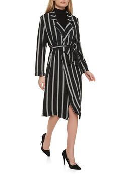 Striped Crepe Knit Duster - 1008038349321