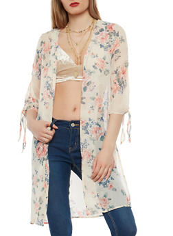 Floral Tie Sleeve Kimono - 1008051066479