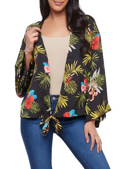 Tropical Print Tie Front Top - 1008051066486