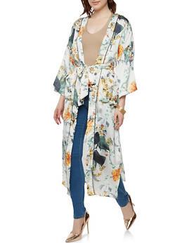 Belted Satin Floral Duster - 1008051066493