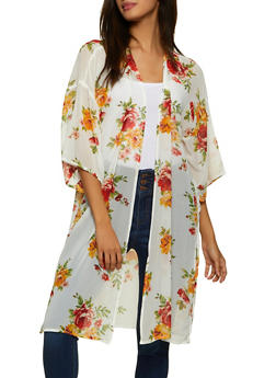 Floral Crepe Knit Duster - 1008054260981