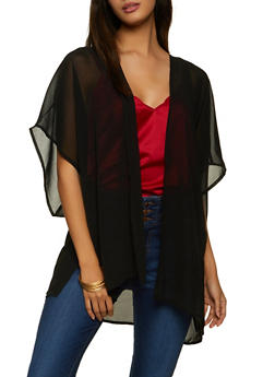 Solid Chiffon Kimono - 1008054262264
