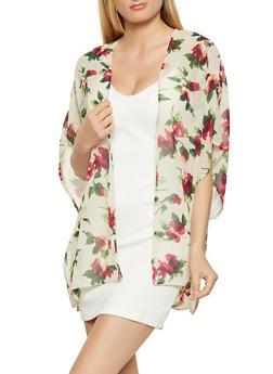 Floral Chiffon Kimono - 1008054269761