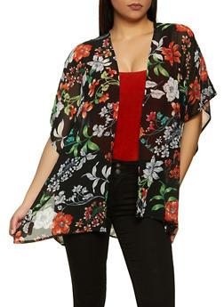 Tropical Floral Chiffon Kimono - 1008054269762