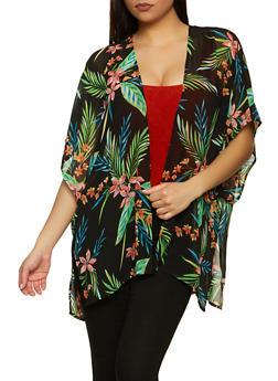 Palm Leaf Print Chiffon Kimono - 1008054269763