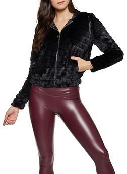 Hooded Faux Fur Zip Sweatshirt - 1008058752353