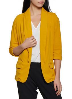 Crepe Knit Collared Blazer - 1008062413751