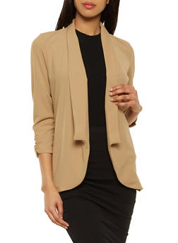 Ruched Sleeve Textured Knit Collared Blazer - 1008062413797