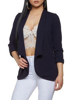 Ruched Sleeve Textured Knit Collared Blazer - 1008062413797