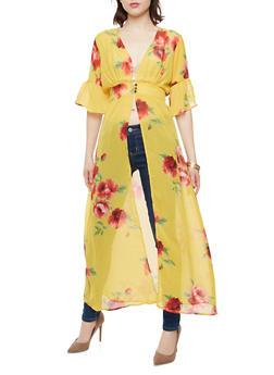 Mustard Rose Print Maxi Top - 1008074290122