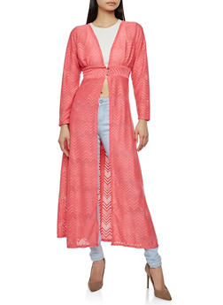 Printed Lace Duster - 1008074290461