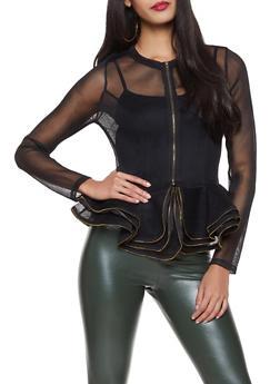 Zip Front Peplum Mesh Jacket - 1008074292890