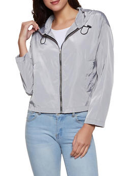 Hooded Zip Front Windbreaker Jacket | 1008074292899 - 1008074292899