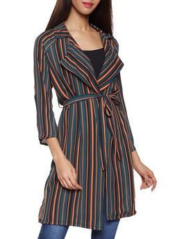 Striped Tie Waist Duster - 1008074295050