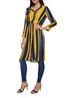 Striped Button Front Maxi Top - 1008074295051