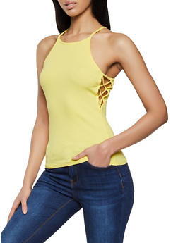 Caged Side High Neck Cami - 1010054260521