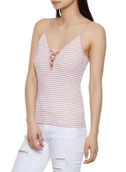 Striped Rib Knit Cami - 1010054260724