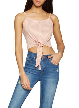 Striped Tie Front Crop Top - 1010054260801