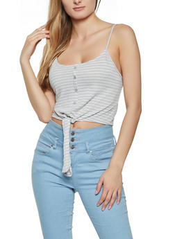 Cropped Tie Front Striped Cami - 1010054260802