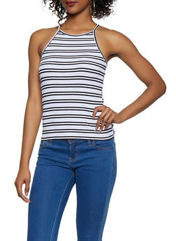 Striped High Neck Tank Top - 1010054261046
