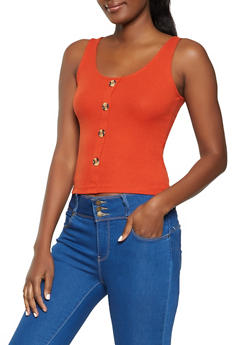 Button Detail Ribbed Tank Top - 1010054261605
