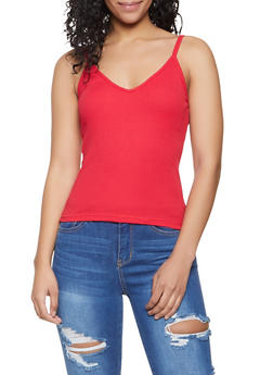 V Neck Ribbed Tank Top - 1010054262018