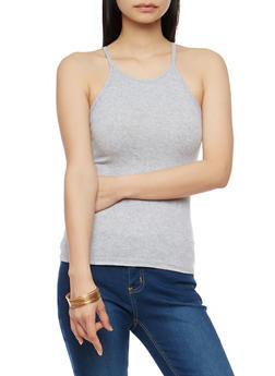 Ribbed Knit High Neck Tank Top - 1010054269319