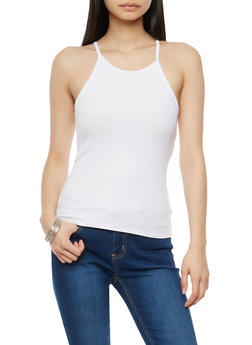 Ribbed Knit High Neck Tank Top - WHITE - 1010054269319