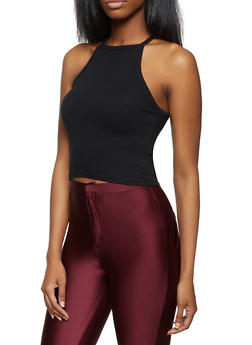 Ribbed High Neck Crop Top - 1010054269442