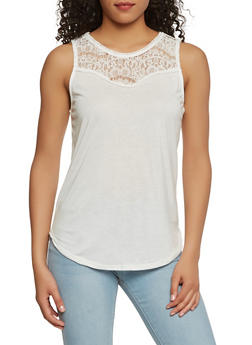 Lace Yoke Tank Top - 1011054265876