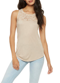 Lace Yoke Tank Top - 1011054268103