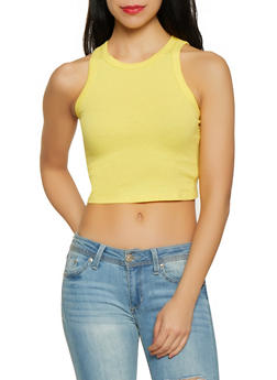 Solid Cropped Tank Top - 1011058750322