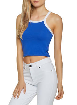 Contrast Trim Cropped Tank Top - 1011058750513