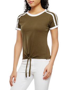 Contrast Trim Tie Front Tee - 1012033870222