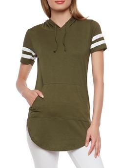 Varsity Stripe Hooded Tunic - OLIVE - 1012033878951