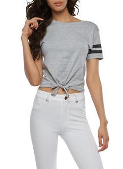 Tie Front Varsity Stripe T Shirt - 1012033879821