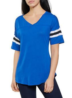 Varsity Stripe V Neck Tee - 1012054260502