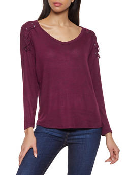 Lace Up Detail Sweater - 1012054260548