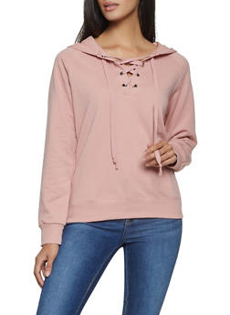 Lace Up Hooded Sweatshirt - 1012054260554