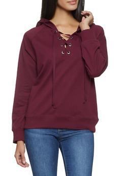 Lace Up Hooded Sweatshirt - 1012054260554