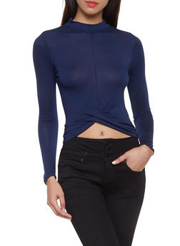 Twist Front Long Sleeve Crop Top - 1012054260612