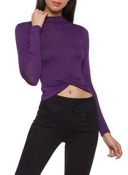 Twist Front Long Sleeve Crop Top - 1012054260612