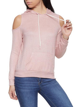 Brushed Knit Cold Shoulder Sweater - 1012054260667