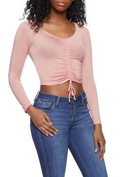 Drawstring Front Crop Top - MAUVE - 1012054260670