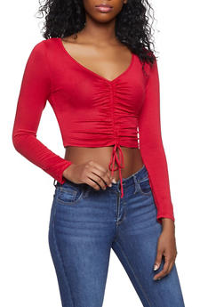 Drawstring Front Crop Top - 1012054260670