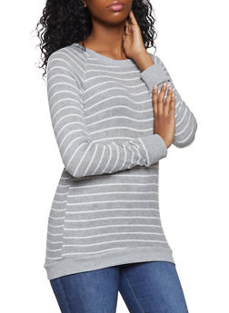 Striped Scoop Neck Sweater - 1012054260683