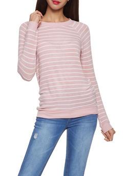 Striped Scoop Neck Sweater - 1012054260683