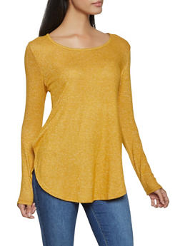 Side Slit Brushed Knit Sweater - 1012054260701