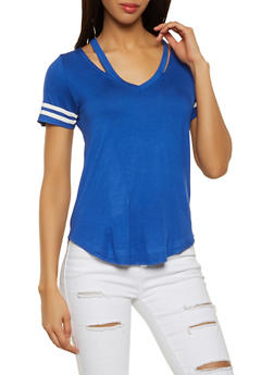 Soft Knit Cut Out Neckline Tee - 1012054260716