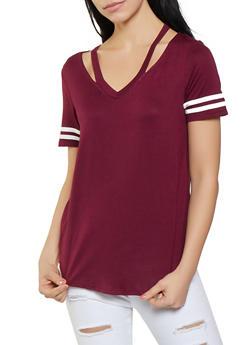 Soft Knit Cut Out Neckline Tee - 1012054260716
